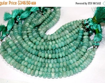55% Sale 5x8 Inches 7-10mm Finest Quality Natural Amazonite Smooth Rondelle Beads / Semiprecious Gemstone Beads