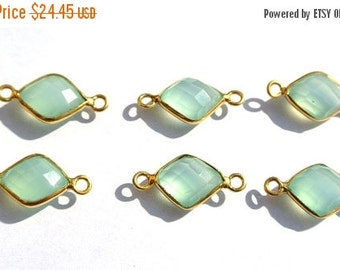 55% OFF SALE 22k Gold Vermeil AAA Prehnite Chalcedony Faceted Fancy Shaped Double Loop Bezels Size 23x11mm Approx , 2Pcs 1 Match Pair