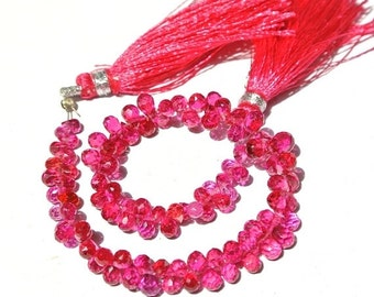 55% OFF SALE 7.5 Inches Hot Pink Corundum Quartz Faceted Drop Briolettes Size 3.5x2-7x4mm