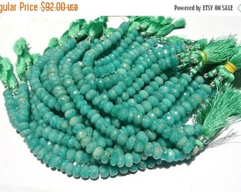 55% OFF SALE Full 8 Inches - Finest Quality Natural Brazilian Amazonite Faceted Rondelles Size 8 - 9mm approx
