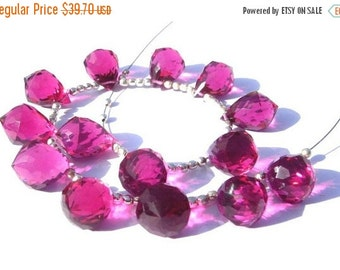55% OFF SALE 8 Inches - AAA Rubelite Hot pink Quartz Faceted Fancy Chandelier Size 14x10mm 13Pcs 6 Matched Pair n a Focal Pendant, Wholesale