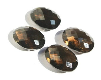 4 Pcs 2 Pair 13x18mm AAA Natural Smoky Quartz Faceted Oval Briolettes Finest Quality Great Price Drill Hole You Choose