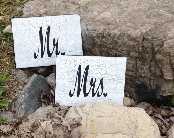 Hand painted Mr and Mrs Rustic Chic Wedding Signs