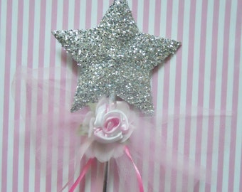 Will You Be Our Flower Girl? Wand with Pink Rose