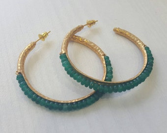 Large Green Onyx Hammered Gold Hoops