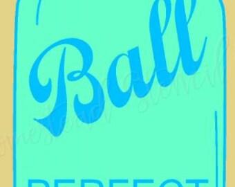 PRIMITIVE STENCIL - 7066 J - Ball mason jar - Clear 5Mil Mylar