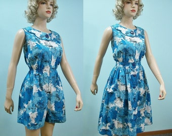 1950s Romper & Skirt . 50s Novelty Print Playsuit and Full Skirt Set . Sailboats Birds . M L
