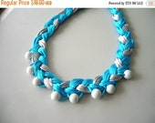 Turquoise braided fiber necklace