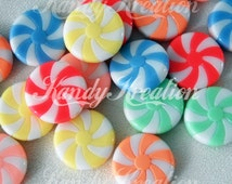 12 Peppermint Swirl Candy Beads 23mm Pastel Resin Acrylic for deco jewelry Kandi cute pink blue green yellow peach