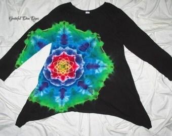 tie dye, small asymmetrical tunic, tie dye mandala by GratefulDan, Trippy dyed festival tunic
