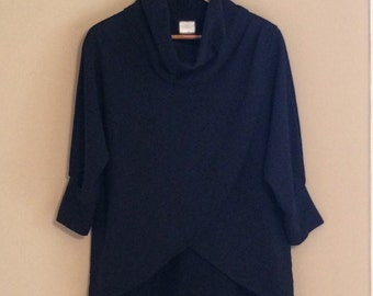 shortees for women - wrap lounge top - with cowlneck & 3/4 dolman sleeves in cotton french terry - black