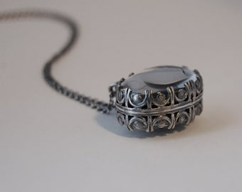 DOUBLE FANCY -- Double-sided Handmade Sterling Silver Photo Necklace or Pendant with Extra Fancy Bezel