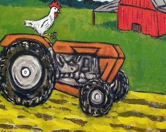 ON SALE Chicken on the Farm Riding a tractor Bird Art Tile