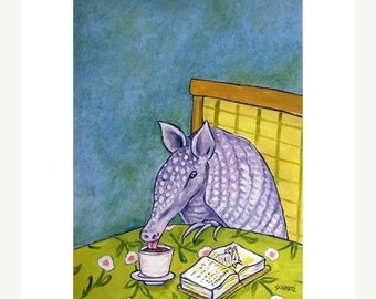 ON SALE Aarmadillo at the Coffee Shop Art Print