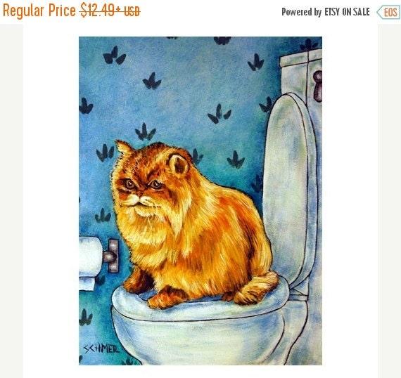 ON SALE Chinchilla Persian Cat in the Bathroom Art Print