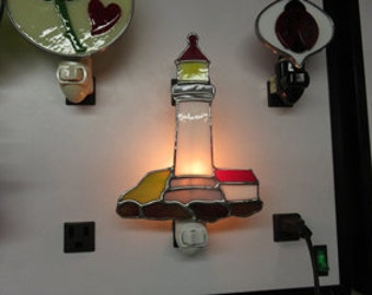 Lighthouse NLs 2 Choices - Lighthouse Night lights - Stained Glass - Lighthouses Made to Order