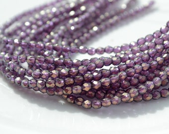 Halo Regal 3mm Faceted Fire Polish Round Czech Glass Beads  50