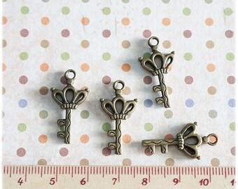10 pcs Skeleton Key metal charm Antique Brass color
