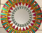 Stained Glass Mosaic Mandala Mirror Red Yellow Round large