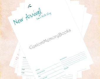 Digital Baby Memory Book Pages Any Color - Custom Personalized PDF You Print