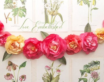 Vibrant Rose Festoon 3 Foot Tropical Summer Sorbet Paper Flower Rose Garland - Home Decor - Boho - Wedding Decor Birthday Decorations