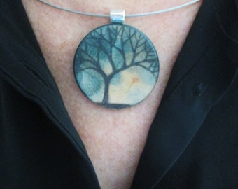 OAK TREE PENDANT #1 - Hand drawn and painted art piece
