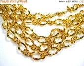 50% Off Brass Figaro Chain Gold Plated sold by the foot No 4