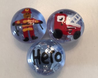 Half off sale Firefighters  firemen  hero Hand Painted glass gem magnets party favor favors