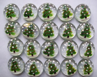 Christmas tree snowy day Hand painted glass gems party favors set of  100   christmas decorations trees
