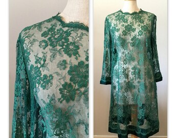 Vintage 60s Baby Doll Lace Dress M Green with Satin Bow
