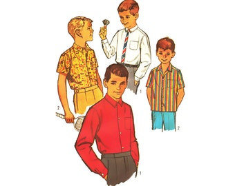 Unused Vintage 1960s Boys Shirt Sewing Pattern Narrow Button Down Collar Shirt Pattern Uncut Chest 28 size 10 Simplicity 4964