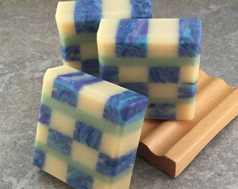 Lemon Blueberry Scented Mosaic Soap - Decorative Coconut Milk Artisan Soap