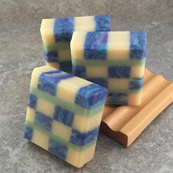 Lemon Blueberry Scented Mosaic Soap - Decorative Coconut Milk Artisan Soap