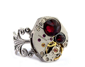 Ruby Red Steampunk Ring July Birthstone Steampunk Jewelry Swarovski Crystal Steam Punk Round Ring Siam designed by London Particulars