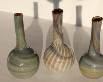 3 Miniture Glass Vases - Hand Blown - Rare Multicolored (Stock #E3BV-01)