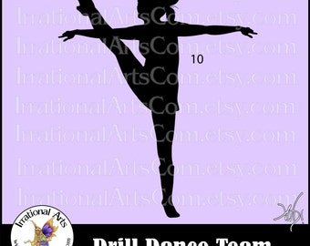 Drill Dance Team Silhouettes Pose 10 - with 1 eps & svg Vinyl Ready files and 1 png digital file and commercial license [INSTANT DOWNLOAD]
