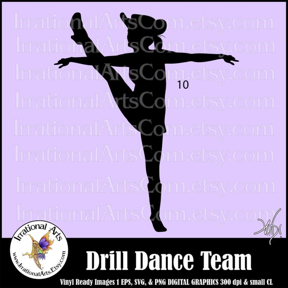 drill dance team silhouettes pose 10 with 1 eps amp svg vinyl
