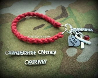 BRACELET Red Friday Military Boot Band SSG18 Charm Army Marines Air Force Navy National Guard Deployment deployed Kuwait Afghanistan usmc