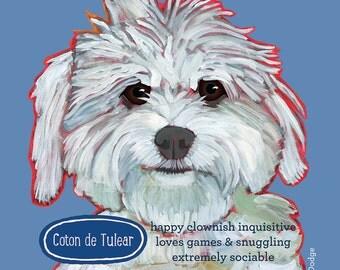 Coton de Tulear canvas tote bag, customize with dog's name, custom cotton dog beach bag shopping bag