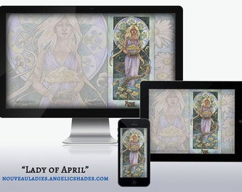 Lady of April Art Nouveau Diamond and Daisy Birthstones Birth Flowers Wallpapers for Desktop, Phone, and Tablet