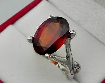 AAA Hessonite Garnet   14x10mm  5.63 Carats   14K White gold gold - ELKE- ring 0712