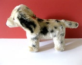 Reserved for Betty - Cute Vintage Stuffed Dog, Spotted Puppy, Sawdust Stuffed,  Collar with Studs and Buckle