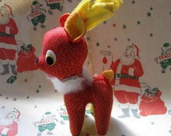 Darling Vintage Kitschy Stuffed Reindeer Ornament, Made in Japan