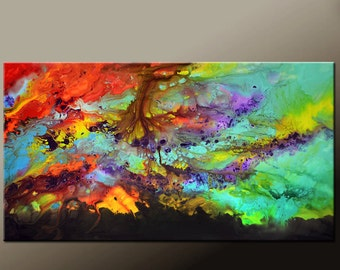Abstract Canvas Art Painting 84x48 Original Contemporary 7ft Painting by Destiny Womack  dWo - Beyond the Shadows - SALE