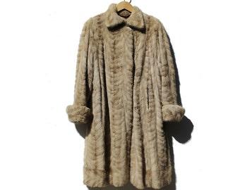 Vintage Oatmeal Tan Lamb Fur Swing Coat