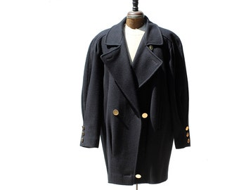 Vintage Cathedral Navy Blue Wool Coat / Double Brest Voluminous Coat