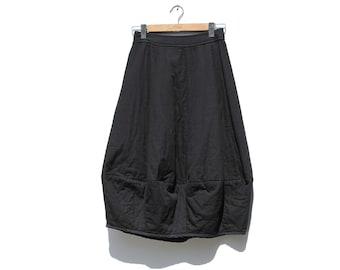 Black Cotton Midi Skirt / Handmade Bloom Skirt