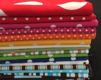 SALE 20-pc. Fat Quarter SET Dots & Stripes #47 Robert Kaufman Pimatex Cotton Quilt Dress Fabric - 5 Yards total, Assorted Colors as Shown