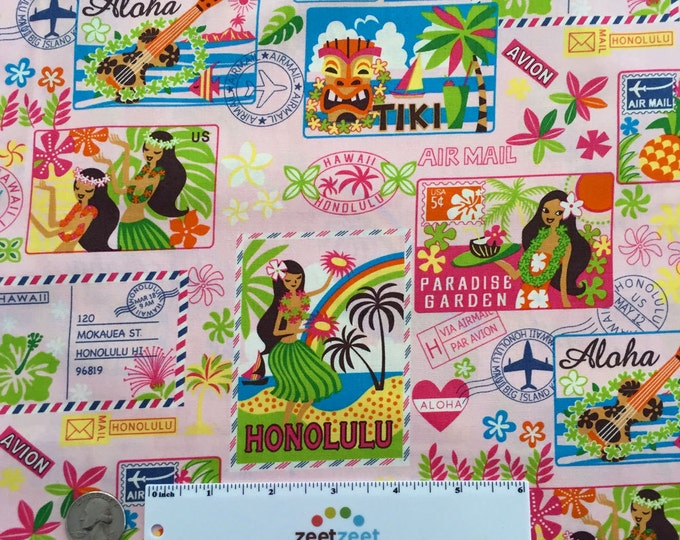 HAWAII POSTCARDS PINK Cotton Aloha Fabric Yard Fq Postcard Honolulu Paradise Vacation Air Mail Hula Girls Tropical Travel Mail Tiki Avion