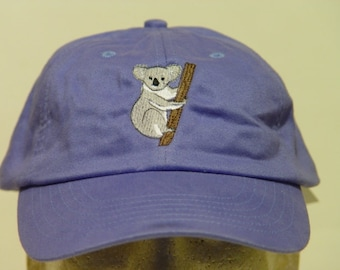 KOALA HAT - One Embroidered Wildlife Cap - Price Embroidery Apparel - 24 Color Caps Available